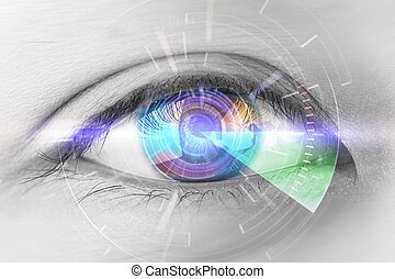 Close up eyes of technologies in the futuristic. : eye cataract