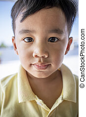 close up face asian children looking eyes contact to camera