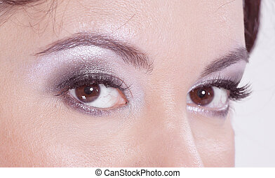 close up. face of a beautiful woman with daily makeup