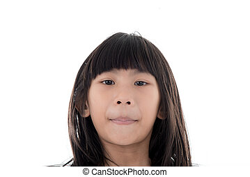 Close up face of Asian girl on white.