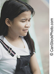 close up face of asian teenager