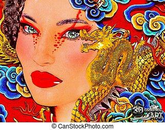 Close up face of Asian woman