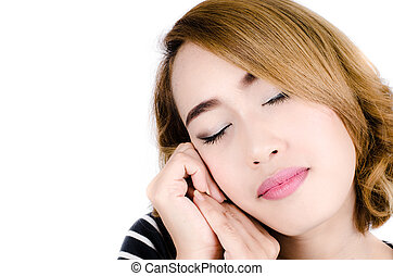 Close up face of Asian woman isolated on white.