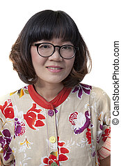 close up face of forty years old asian woman wearing eyes glasse isolated on white