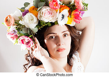 Close up face of spring woman
