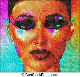 Close up face, oil paint effect.