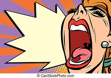 Close-up face pop art woman screaming rage. Comic book...