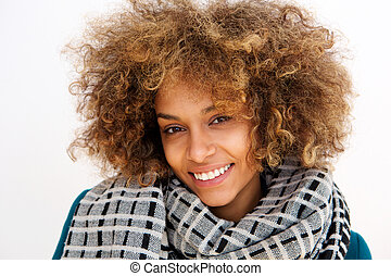 portrait of african american woman smiling with scarf
