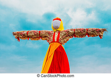 Close-Up Faceless Straw Effigy Of Dummy Maslenitsa, Eastern Slavic Mythology, Pagan Tradition. The Eastern Slavic Religious, Folk Holiday Celebrating