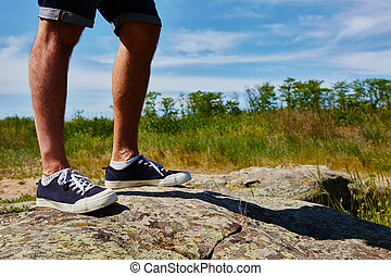 Close up fashion image of man legs.