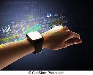 Close up female hand wearing smartwatch