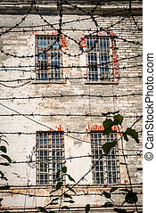 close-up, fio, antigas, farpado, cadeia, tallinn, soviético