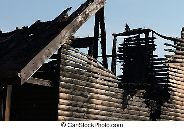 Close up Fire Damaged Wooden House