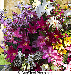 Close up flower arrangement with lilies