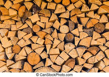 close-up, fogão,  -,  cleaved, fundo,  woodlogs