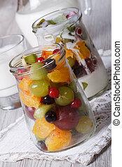 close-up, food:, saudável, jarro, vidro, fruta, fresco, iogurte