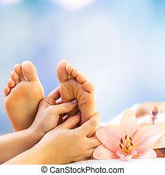 Close up foot reflexology.