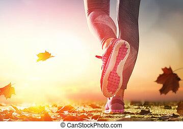 close-up, foots, atlet
