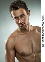 close-up, foto, muscular, posar, pelado, metade, homem,...