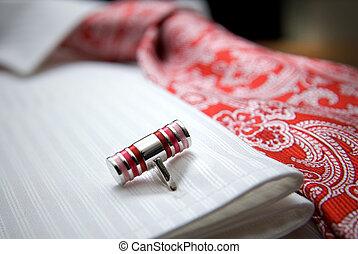 close-up, foto, van, stoeterij, op wit, hemd, met, rode band