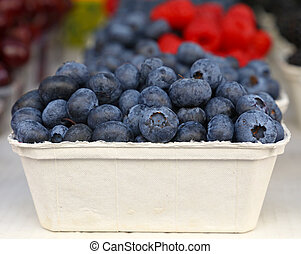Close up fresh blueberry on retail display
