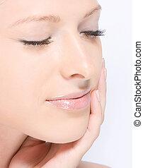 Close-up fresh face - Close-up beautiful fresh women...