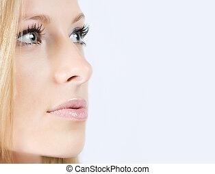 Close-up fresh face - Close-up beautiful young fresh blonde...
