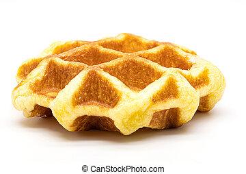 Close up fresh of waffles isolate on white background.