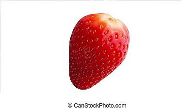 Close up Fresh Red Strawberry Fruit Isolated on White...