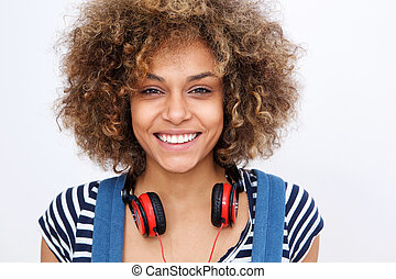 front portrait of beautiful african american girl with headphones