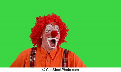 Close up. Front view. Funny clown being late looking at his watch but takes it easy on a Green Screen, Chroma Key. Professional shot in 4K resolution. 061. You can use it e.g. in your medical, commercial video, business, presentation, broadcast