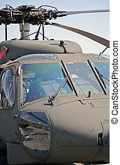 Close up front view of a helicopter