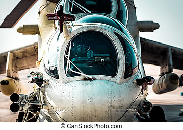 Close-up front view of military attack helicopter