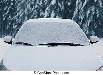 Close up frozen winter car covered snow, view front window windshield and hood on snowy forest background