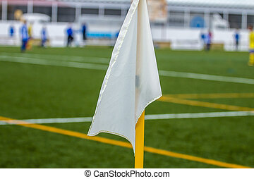 close-up, futebol, bandeira, field., fundo, canto, branca, futebol