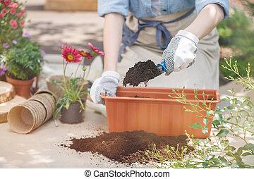close-up, gardener's, handen
