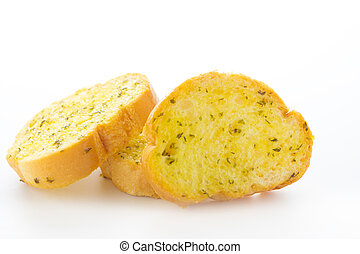 Garlic and herb bread slices - Close up Garlic and herb...