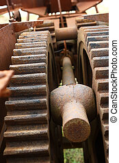 Close up gears on old machine