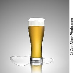 Close up glass of beer with hearts