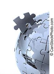 close-up, globo azul, metal, quebra-cabeça, isolado, luz, fundo, branca