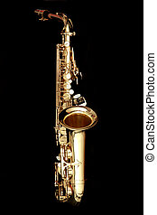 sax - close up gold alto saxophone on black background