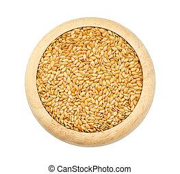 close-up, goud, zaden, lin, vlas, linseed, zaden
