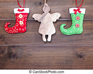 christmas ornament decoration on wooden background.