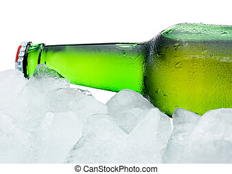 Close-up Green Beer Bottle with Condensation cool in ice isolated on white background