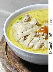 close up Green chicken curry , Thai cuisine