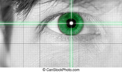 Close up Green Single Eye on Grid Lines. Common to Movie Effects.