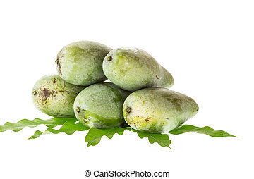 Close up green mango with leaf isolated on white
