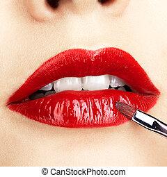 close-up, grit, van, vrouw, lippen, makeup