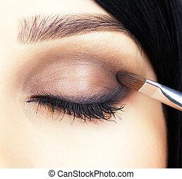 close-up, grit, van, vrouw oog, makeup