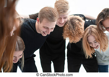 group of cheerful young people standing together